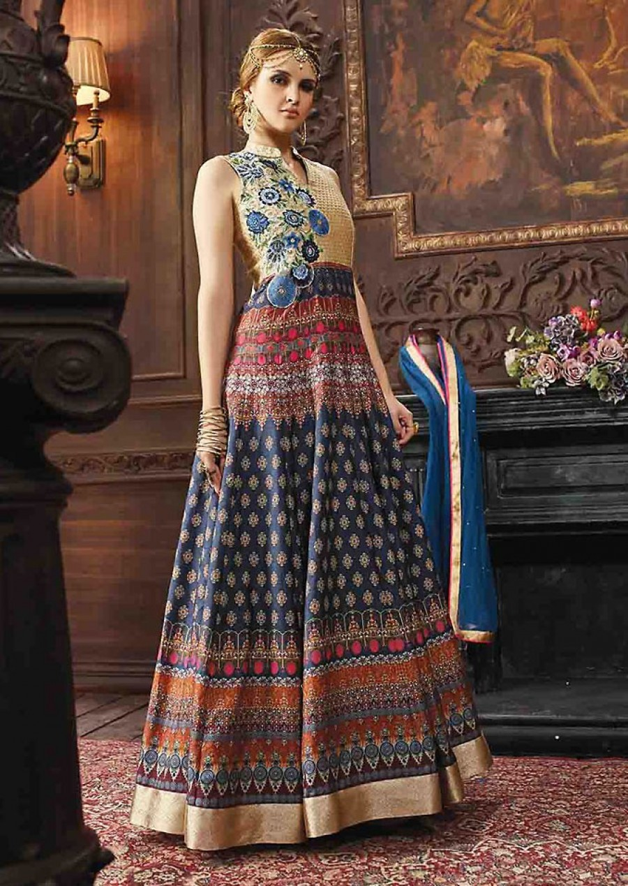 Buy Blue Banarasi Silk Churidar Anarkali Suit With Dupatta  Online
