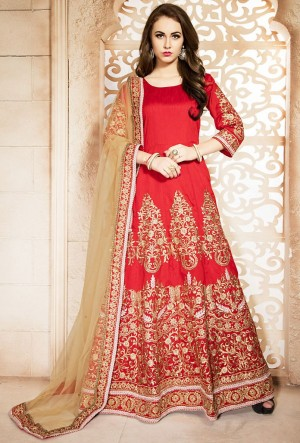 Buy Red Silk Churidar Anarkali Suit With Dupatta  Online