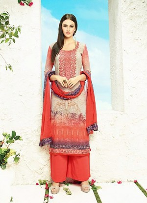 Buy Beige Cotton Palazzo Suit With Dupatta  Online