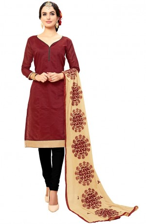 Buy Red Cotton Churidar Kameez with Dupatta Online