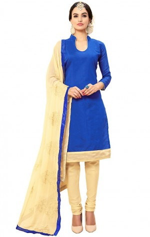 Buy Blue Cotton Churidar Kameez with Dupatta Online