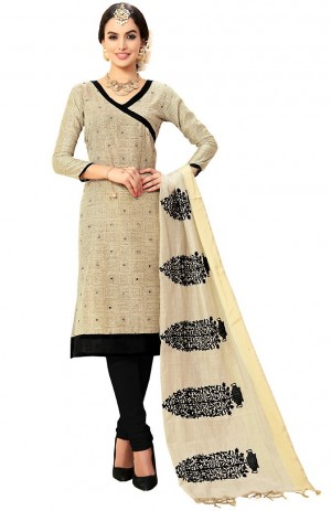 Buy Beige Cotton Churidar Kameez with Dupatta Online