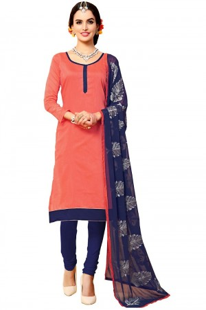 Buy Pink Cotton Churidar Kameez with Dupatta Online