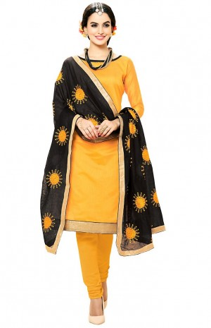 Buy Yellow Cotton Churidar Kameez with Dupatta Online