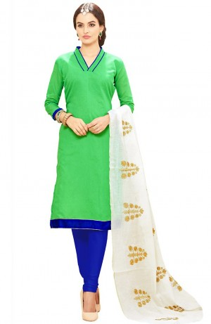 Buy Green Cotton Churidar Kameez with Dupatta Online