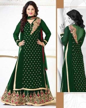 Buy Green Georgette Palazzo Pant Suit with Dupatta Online