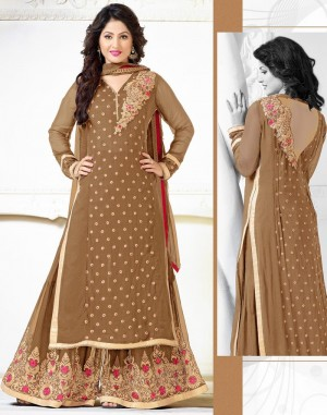 Buy Brown Georgette Palazzo Pant Suit with Dupatta Online