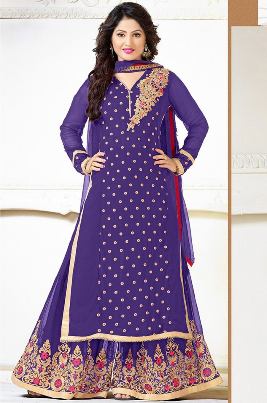 Buy Purple Georgette Palazzo Pant Suit with Dupatta Online