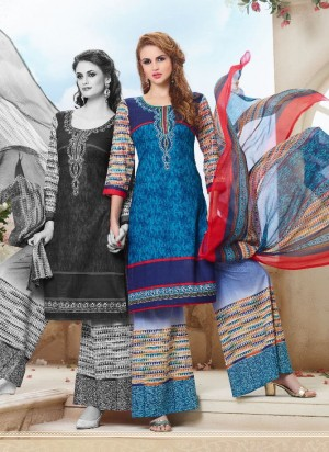 Buy Blue Cotton Palazzo Pant Suit with Dupatta Online