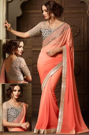 Buy Peach Georgette Saree With Blouse Online