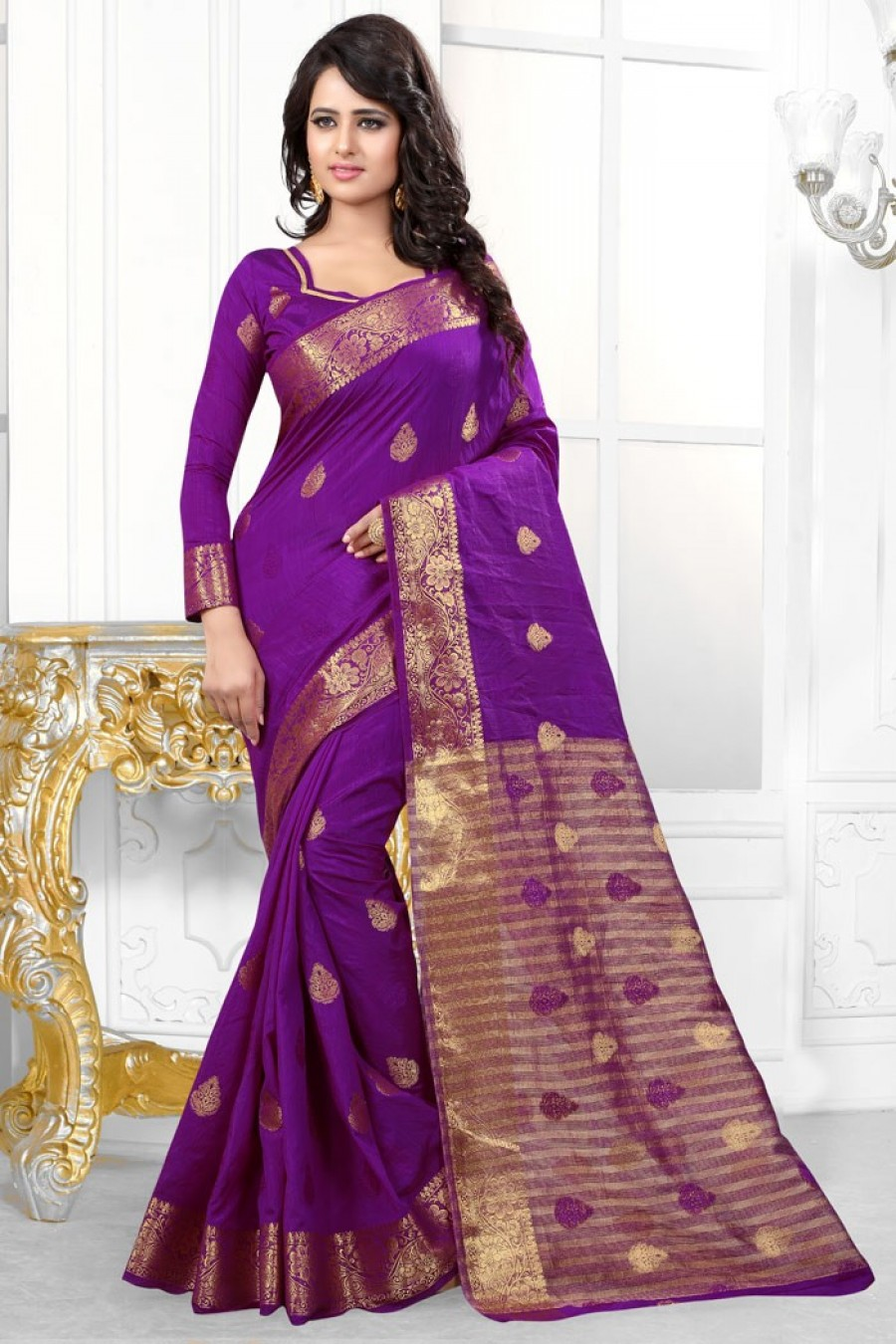 7fde2a73cf1c58 Buy Purple Banarasi Silk Saree With Blouse Online