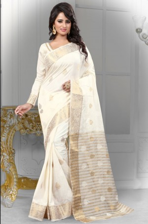 Buy White Banarasi Silk Saree With Blouse Online