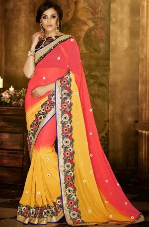 Buy Yellow Georgette Saree With Blouse Online