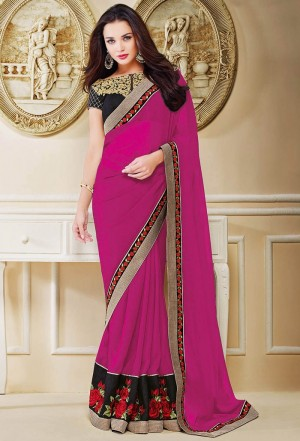 Buy Pink Georgette Saree With Blouse Online