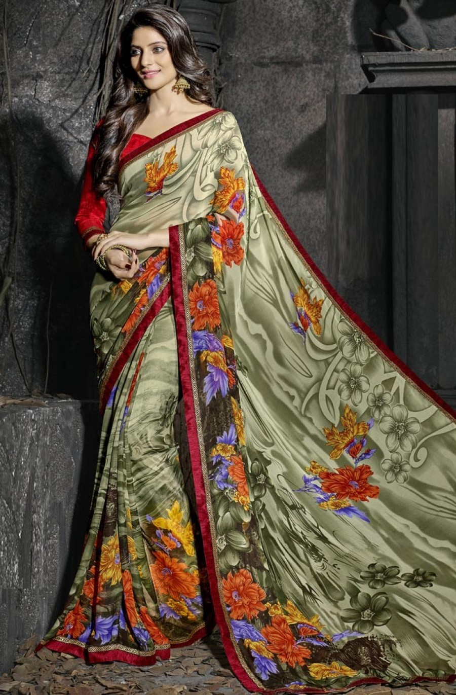 Buy Green Georgette Saree With Blouse Online