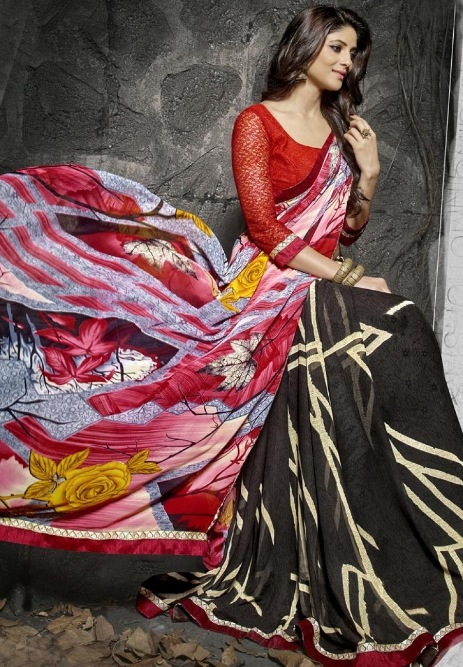 Buy Black Georgette Saree With Blouse Online