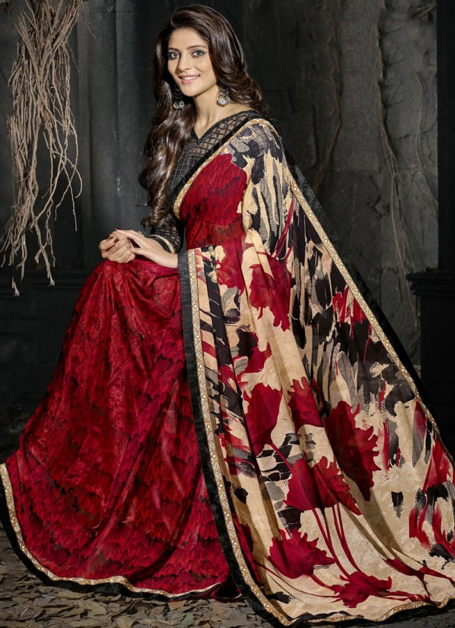 Buy Red Georgette Saree With Blouse Online