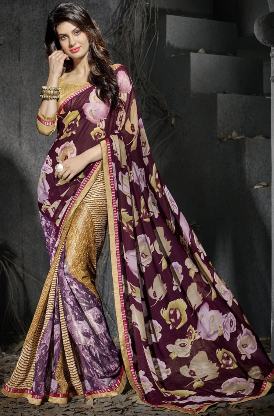 Buy Maroon Georgette Saree With Blouse Online