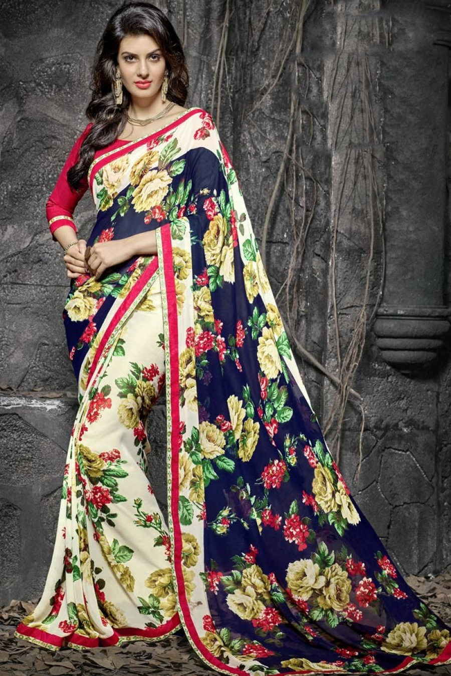 Buy Beige Georgette Saree With Blouse Online
