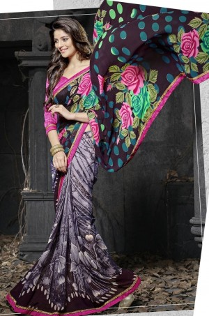 Buy Multicolor Georgette Saree With Blouse Online