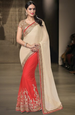 Buy Red Net Saree With Blouse Online