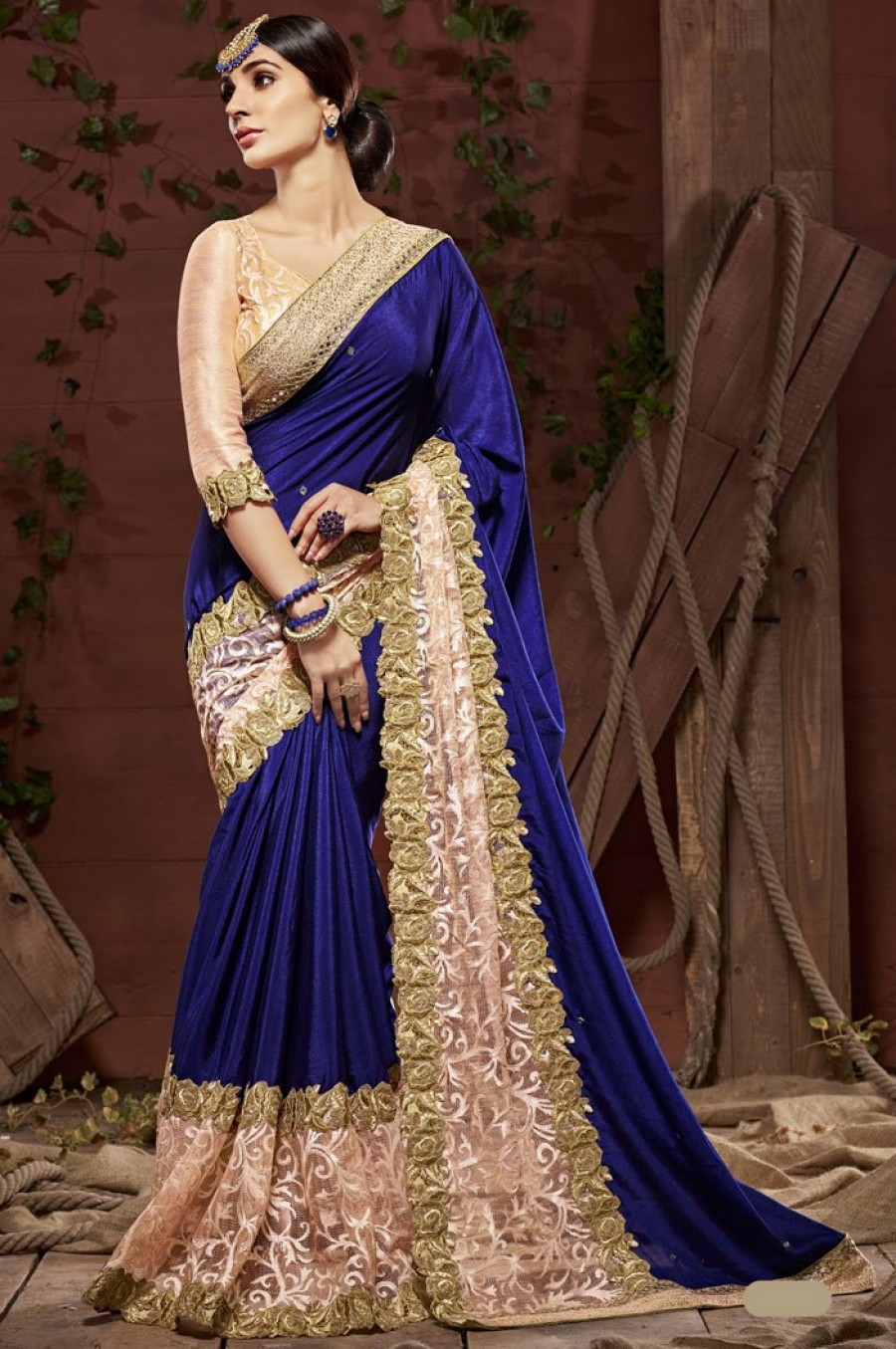 59011d32857062 Buy Online | Blue Chiffon Saree With Blouseat best price | 548698