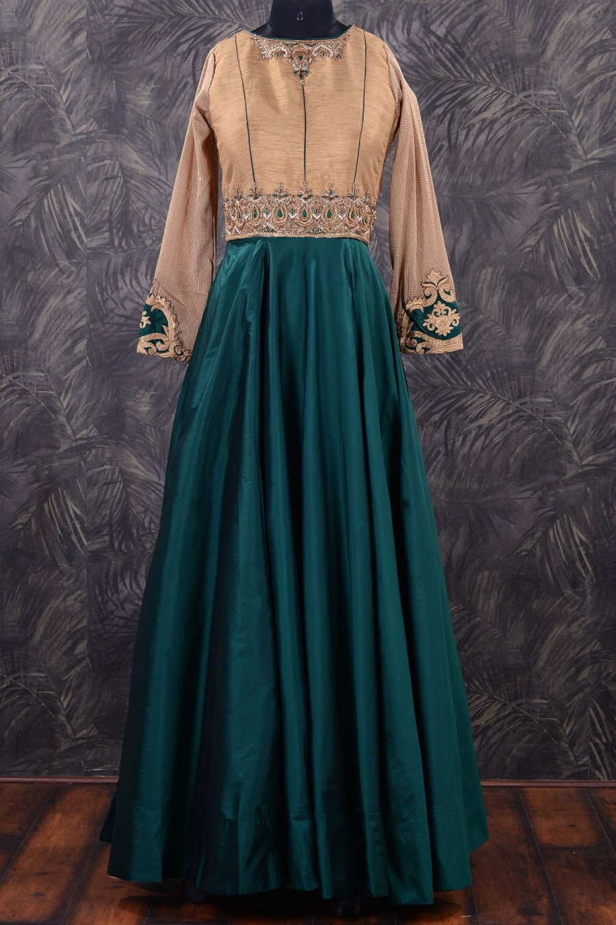Buy Umbrella Cut Salwar Gold  and  Teal Green Bead work SL7437 Online