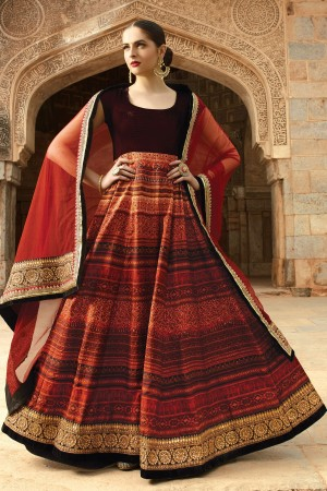 Buy Maroon pure velvet  and  tussar silk alluring anarkali with embroidery SL5516 Online