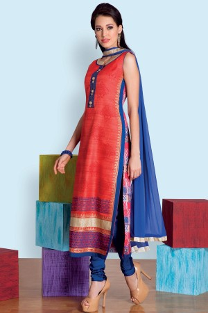 Buy Coral red attractive silk salwar with straight cut pants SL6839 Online