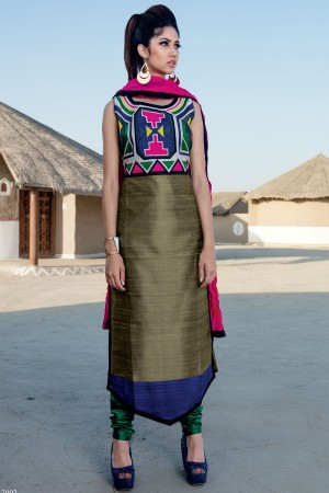 Buy Olive green  blue  and  pink graceful raw silk salwar with chudi pants SL6859 Online