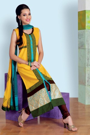 Buy Yellow  and  green classy linen salwar with straight cut pants SL6857 Online