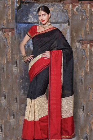 Buy Blended Tussar Embroidery Black Cream and Red Zari work SR23843 Online
