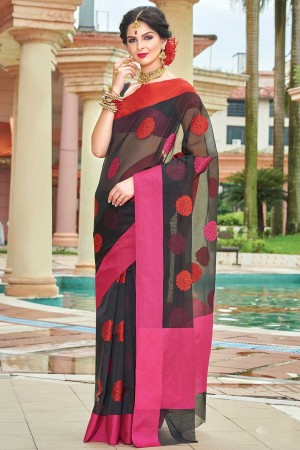 Buy Pure Cotton Silk BlackRed and Pink SR23894 Online