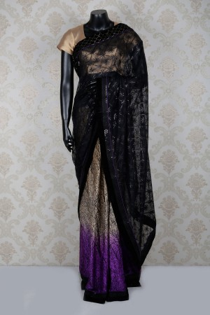 Buy Black beige and purple pretty net and satin saree with sequins work SR14279 Online