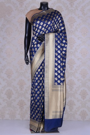 Buy Pure Cotton Silk Navy Blue and Gold WF202560 Online