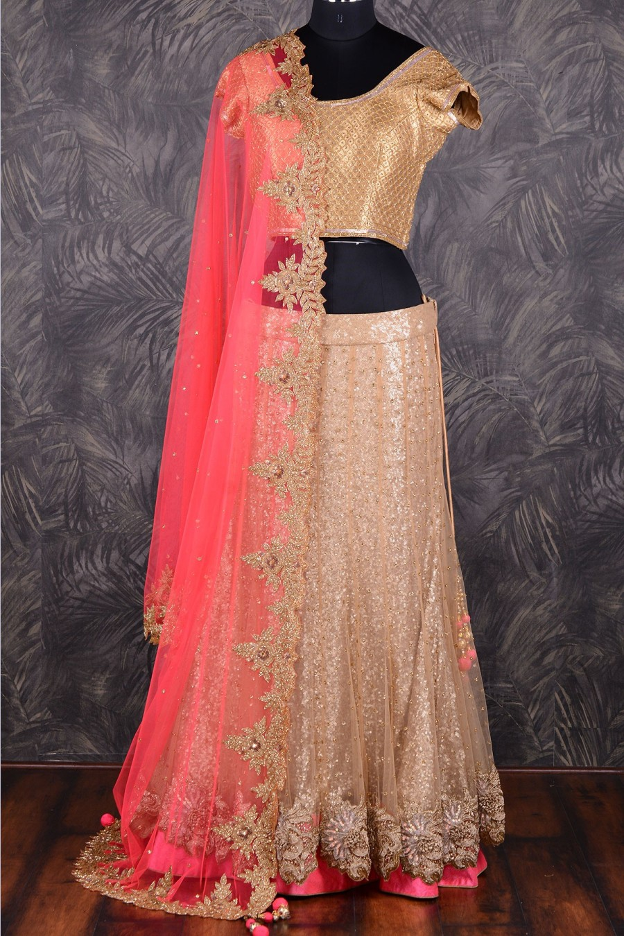 Pick Online Gold And Coral Pink Lehenga Choli With