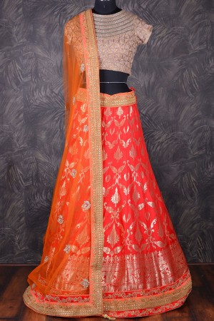 Buy Red  and  gold stunning brocade lehenga with contrast net dupatta GC1246 Online