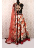 Beautiful black multi color ghagra choli printed with zari work and orange dupatta GC440