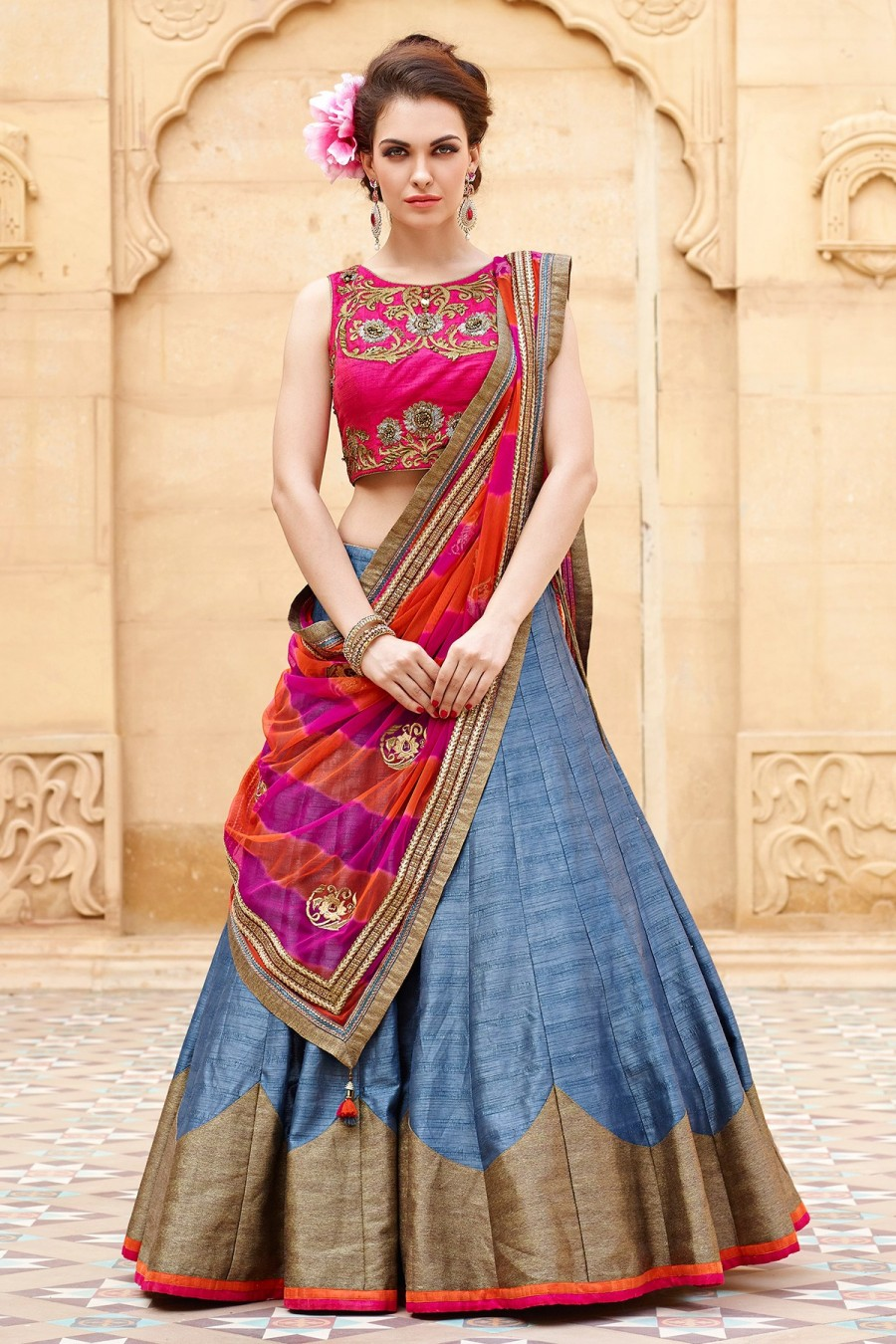 833c6d2172 Buy Grey and pink pretty raw silk lehenga choli with zari work GC976 Online