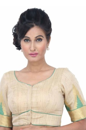 Buy Simple Designer Blouse Cream and Green BL1602 Online