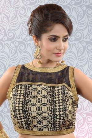 Buy Black and cream silk and lace printed decorous blouse with oat neck  BL840 Online
