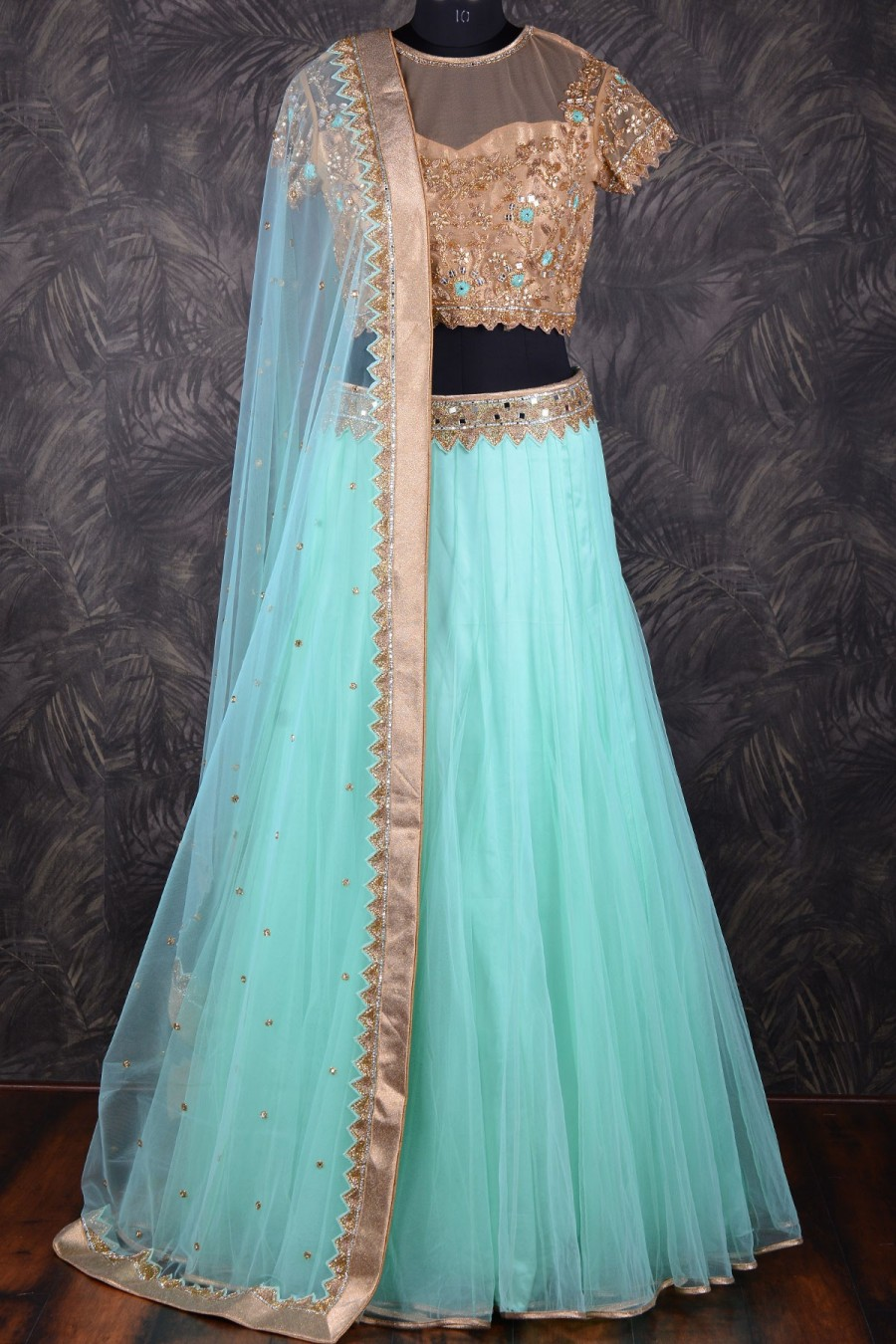 Purchase | Sky blue chic lehenga choli with mirror work GC1019 | 549057