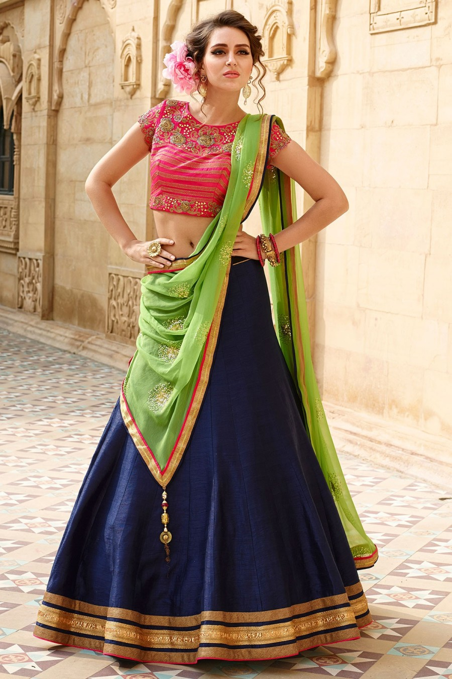 cd9f36c82d Buy Navy blue and pink appealing raw silk lehenga choli with bead work  GC1003 Online