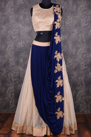 Buy Navy blue  and  cream georgette  and  net lehenga saree with dull gold border GC1006 Online