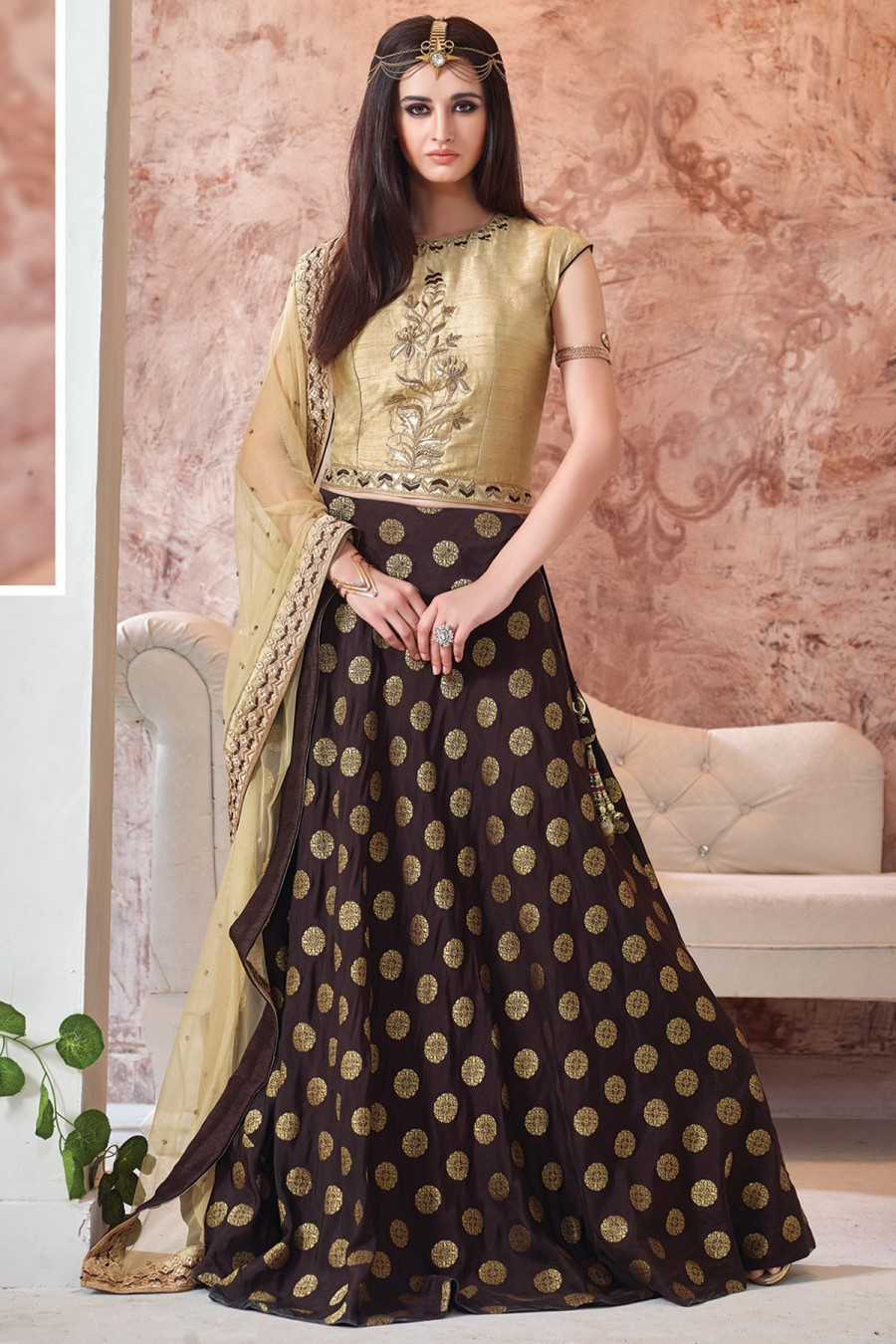 9fa70b1ca1 Grab |Party Wear Lehenga Coffee Brown and Beige GC1283 at best price ...