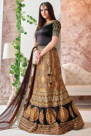 Buy Party Wear Lehenga Coffee Brown  and  Mustard Yellow GC1284 Online