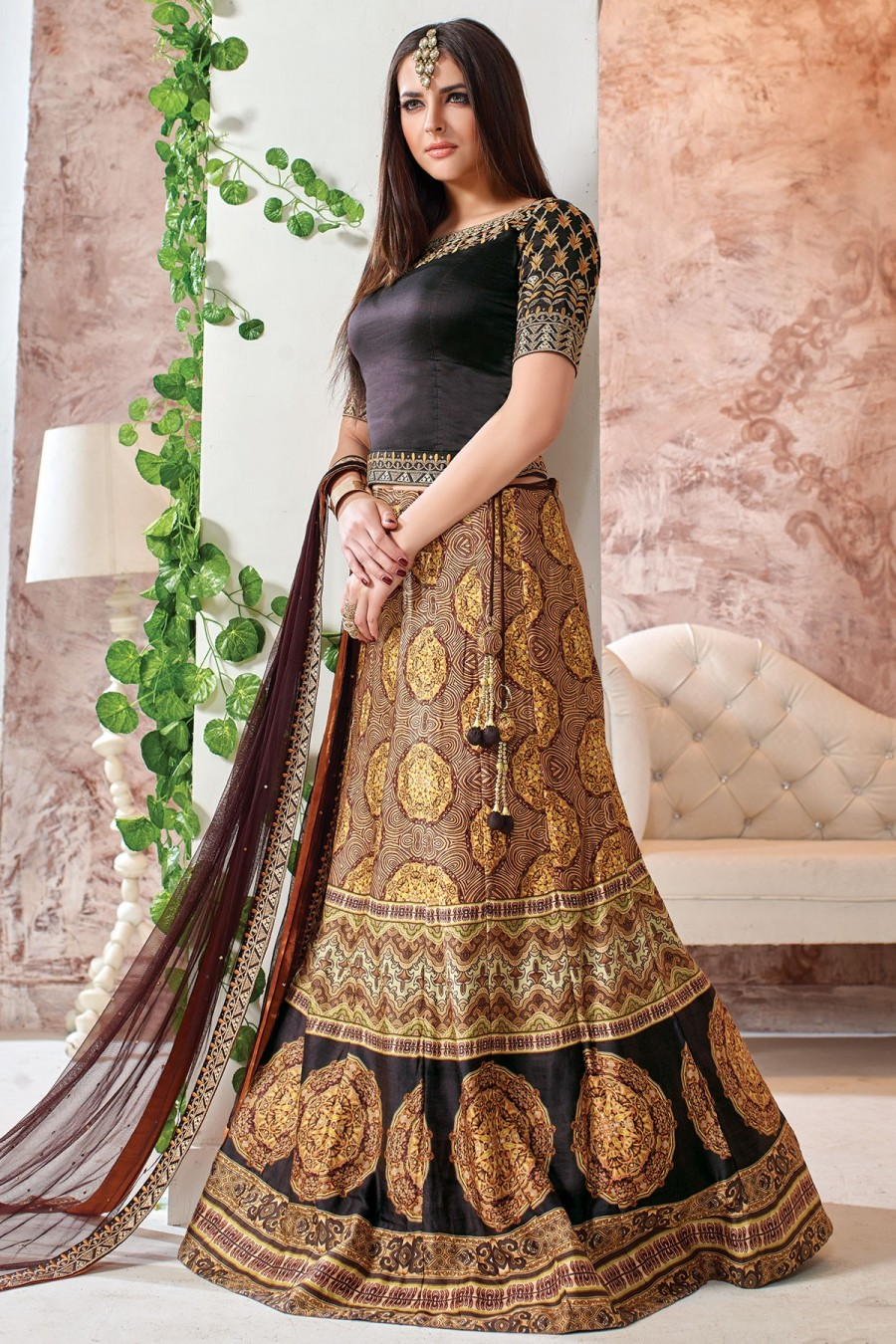 09d112ac31 Buy Party Wear Lehenga Coffee Brown and Mustard Yellow GC1284 Online