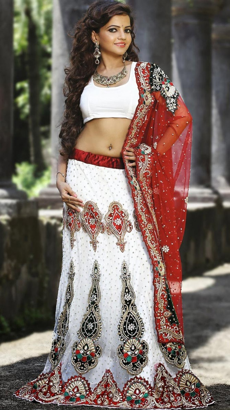 Buy White Net Lehenga Choli With Dupatta Online