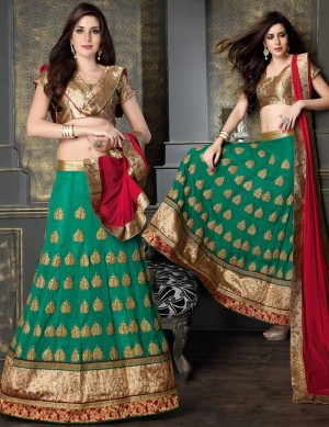 Buy Green Georgette Lehenga Choli With Dupatta  Online