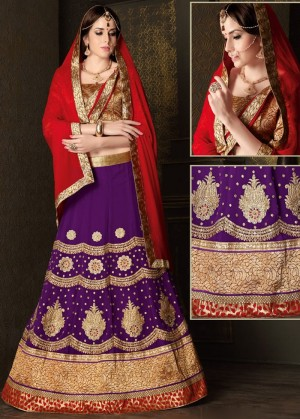 Buy Purple Georgette Lehenga Choli With Dupatta  Online